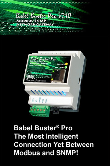 Babel Buster Pro-V210 Modbus-SNMP Gateway with Trap Receiver, Table Walker