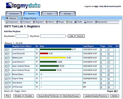 Screen shot of web portal using VP3-3690 Cellular Remote Telemetry Unit