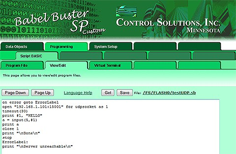 Screen shot from Babel Buster SP Custom BACnet IP to proprietary ASCII serial protocol gateway